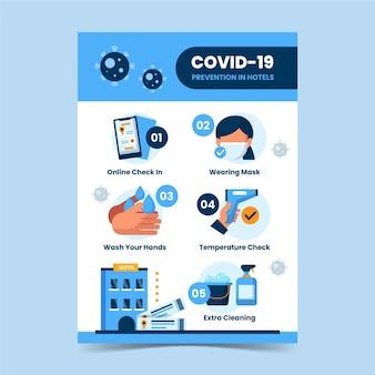 Płaski szablon plakatu zapobiegania koronawirusowi dla hoteli