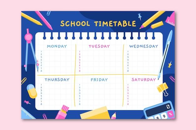Płaski szablon planu lekcji z powrotem do szkoły