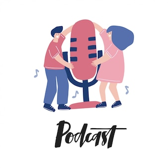 Płaski szablon podcastu. projekt plakatu do emisji.
