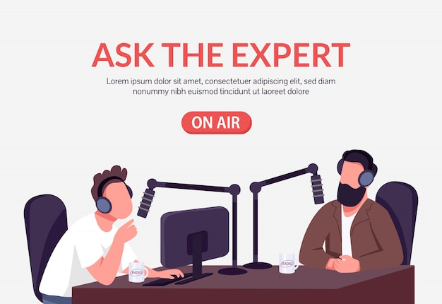 Płaski szablon podcastu radiowego