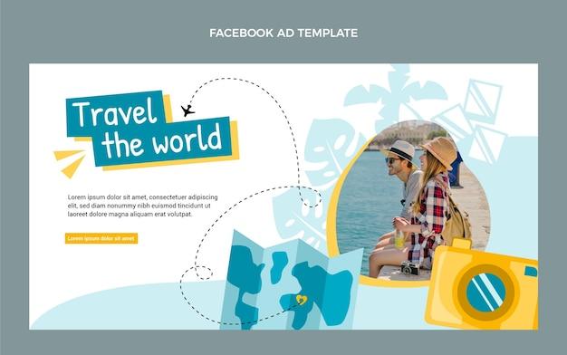 Płaski szablon podróży na facebook