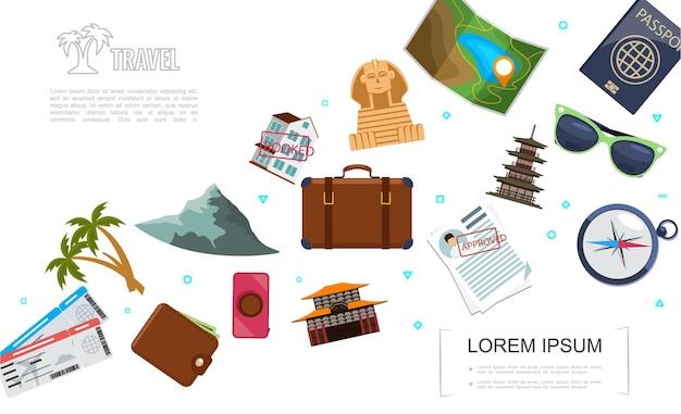Płaski szablon podróży z biletami palmy górskie portfel torba na aparat dokumenty nawigacja kompas okulary przeciwsłoneczne mapa paszportowa chińska pagoda ilustracja sfinksa,