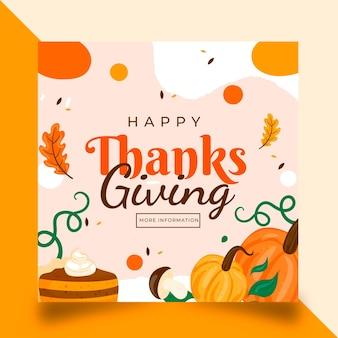 Płaski szablon postu na instagram dziękczynienia