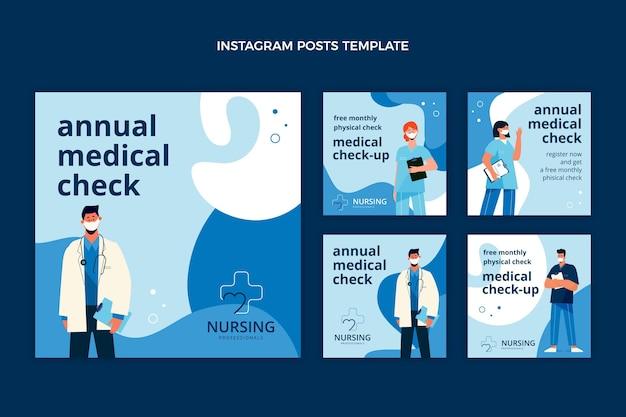 Płaski szablon postu na instagramie medycznym