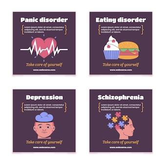 Płaski szablon postu na instagramie zdrowia psychicznego