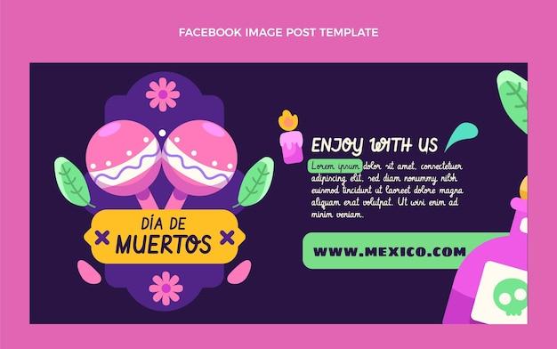 Płaski szablon postu w mediach społecznościowych dia de muertos