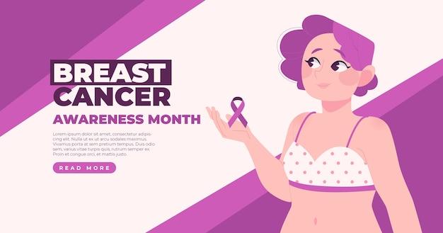 Płaski szablon postu w mediach społecznościowych miesiąca świadomości raka piersi