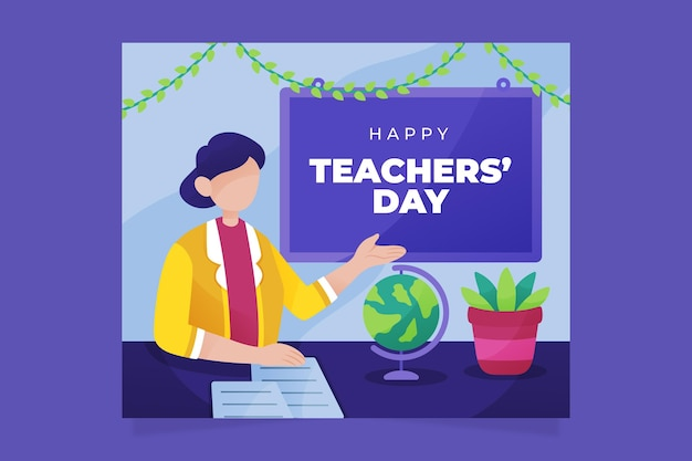Płaski szablon postu w mediach społecznościowych z okazji dnia nauczyciela