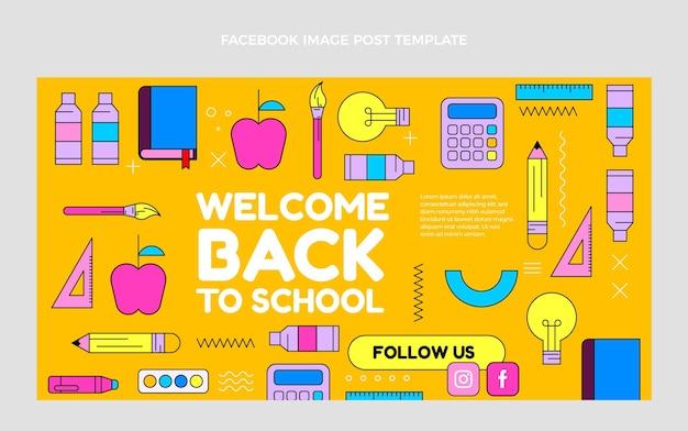 Płaski szablon postu w mediach społecznościowych z powrotem do szkoły