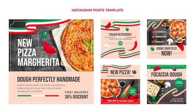 Płaski szablon postu z jedzeniem na instagramie