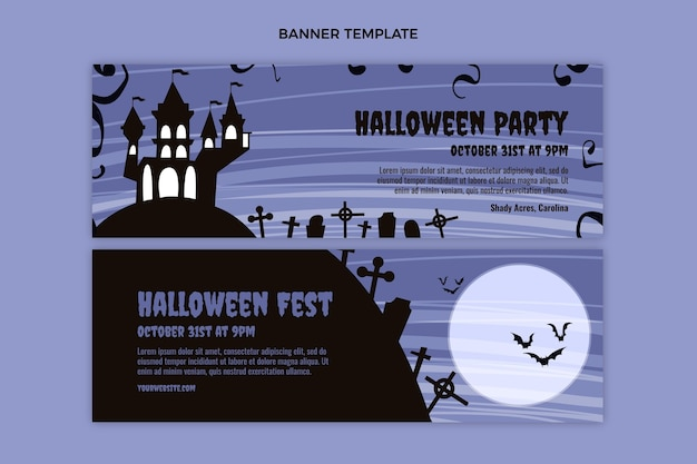 Płaski szablon poziomy baner halloween