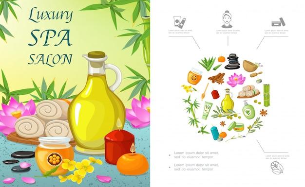 Płaski szablon salonu spa z naturalnymi olejkami aromatycznymi świecami miodowymi ręcznikami kwiat lotosu kamienie aloesowy krem bambusowy cynamon gałązka oliwna