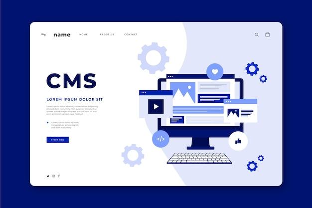 Płaski szablon sieci web koncepcji cms