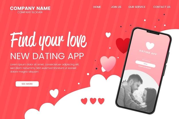 Płaski szablon strony docelowej aplikacji randkowej