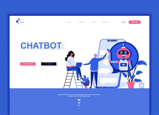 Płaski szablon strony docelowej chat bot