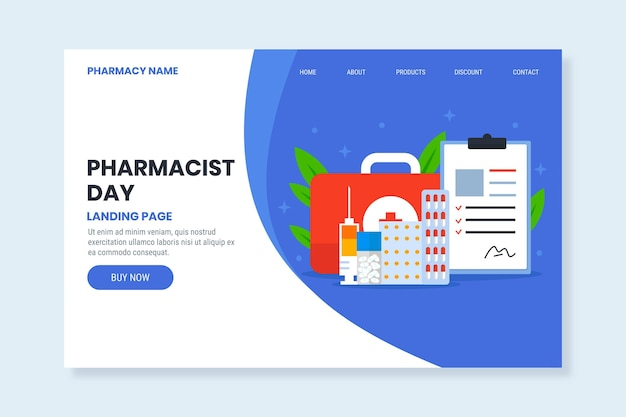 Płaski szablon strony docelowej dnia farmaceuty