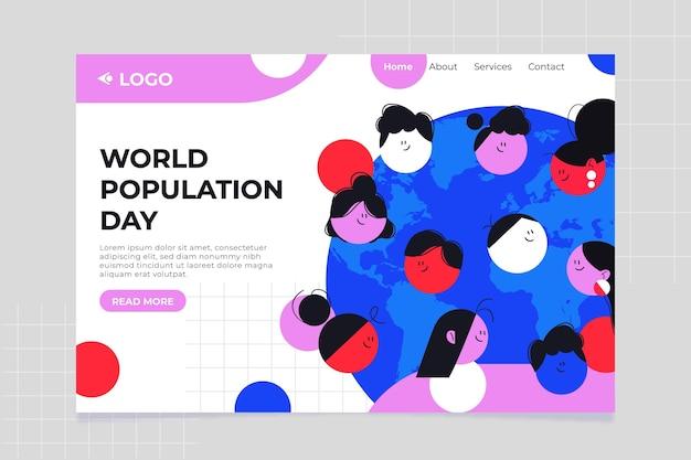 Płaski szablon strony docelowej dnia ludności świata