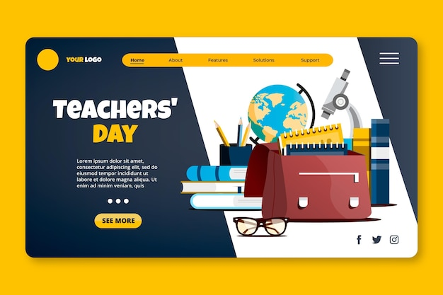 Płaski szablon strony docelowej dnia nauczyciela