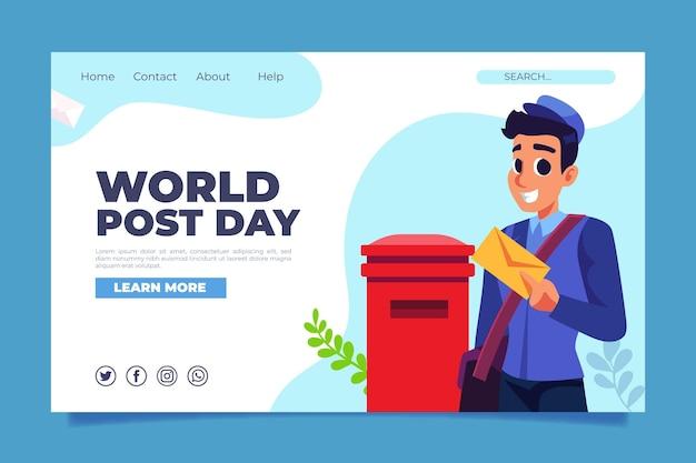 Płaski szablon strony docelowej dnia postu na świecie