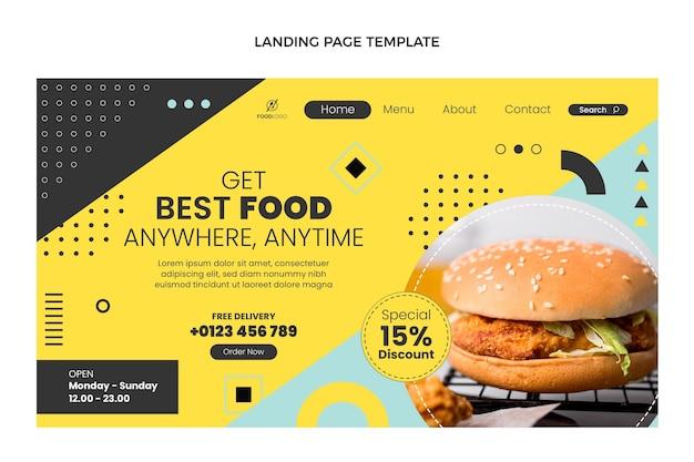 Płaski szablon strony docelowej fast food