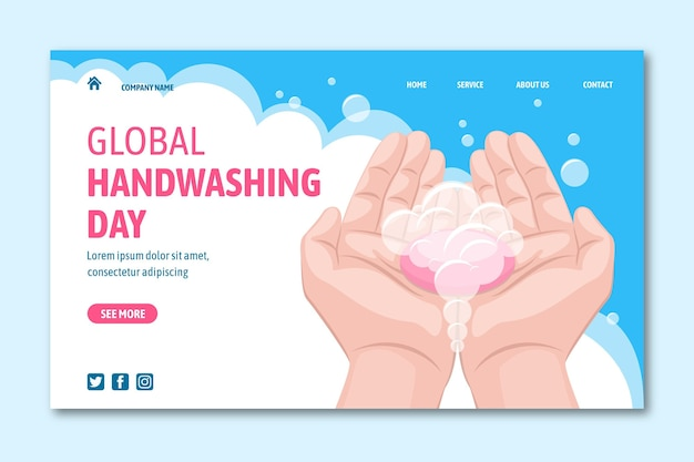 Płaski szablon strony docelowej globalnego dnia mycia rąk