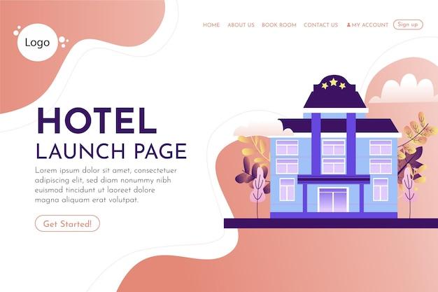 Płaski szablon strony docelowej hotelu z ilustracjami