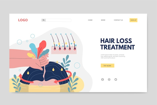 Płaski szablon strony docelowej leczenia wypadania włosów