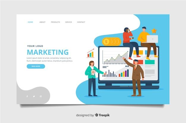 Płaski szablon strony docelowej marketingu