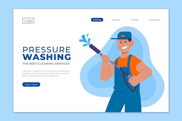Płaski szablon strony docelowej mycia ciśnieniowego