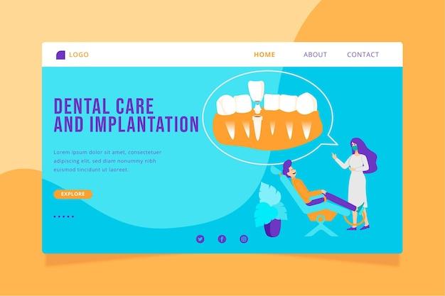 Płaski szablon strony docelowej opieki stomatologicznej
