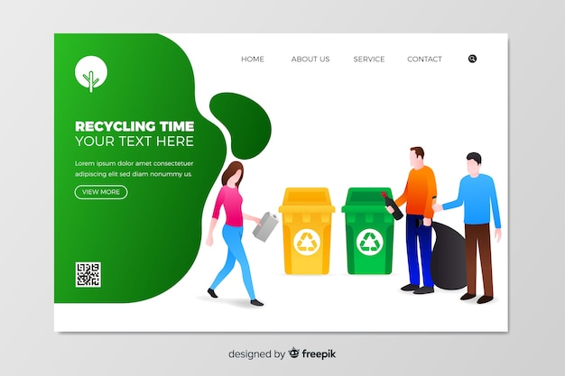 Płaski szablon strony docelowej recyklingu