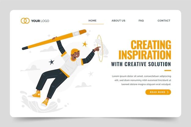 Płaski szablon strony docelowej rozwiązań kreatywnych
