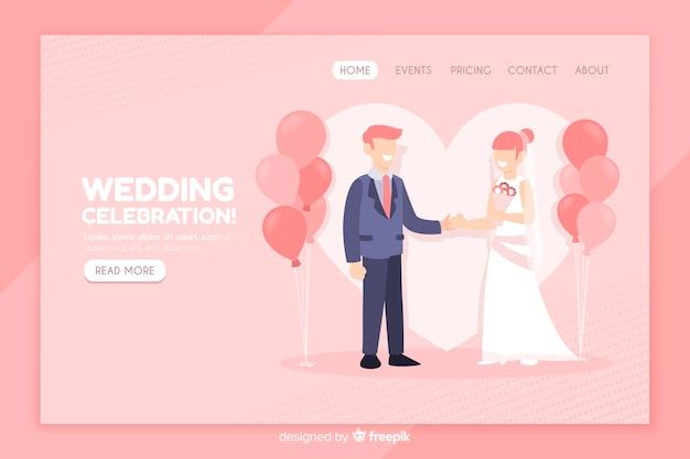 Płaski szablon strony docelowej ślubu