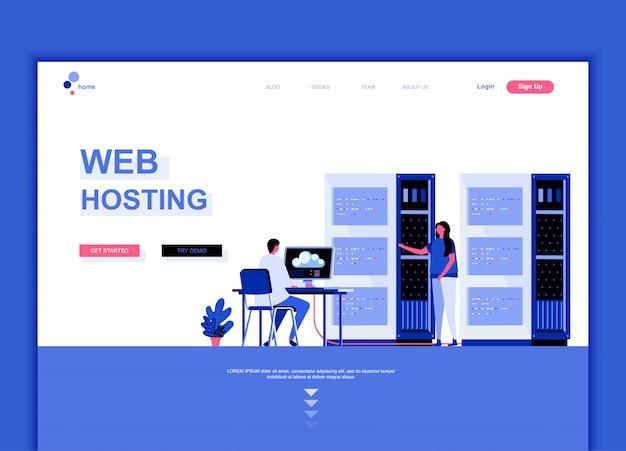 Płaski szablon strony docelowej web hosting