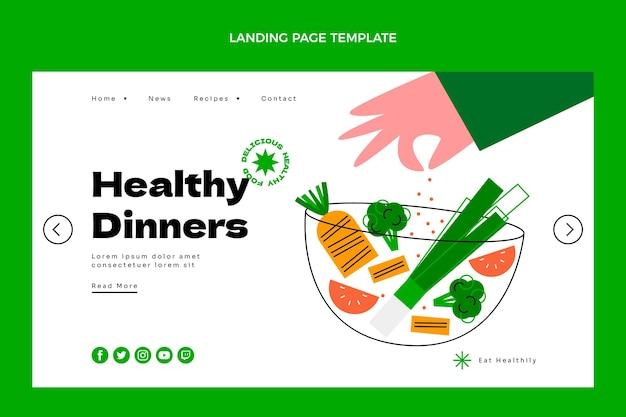 Płaski szablon strony docelowej zdrowej żywności
