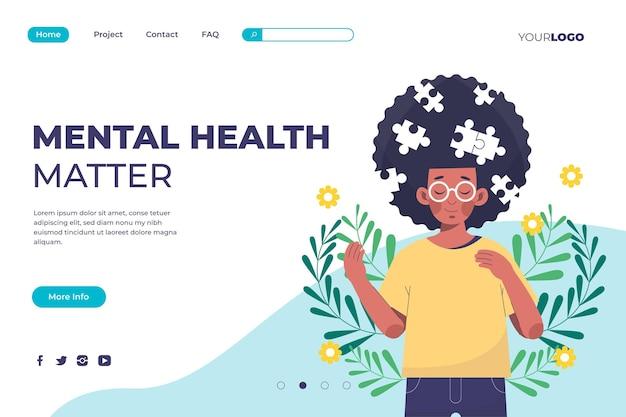 Płaski szablon strony docelowej zdrowia psychicznego