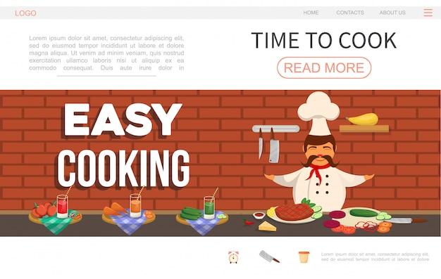 Płaski szablon strony internetowej do gotowania z szefem kuchni przygotowującym posiłek, pomidor, ogórek i soki z marchwi