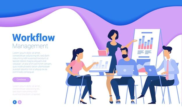 Płaski szablon strony internetowej do pracy zespołowej, strategii biznesowej i analiz. modna koncepcja ilustracji dla strony internetowej i aplikacji mobilnej.