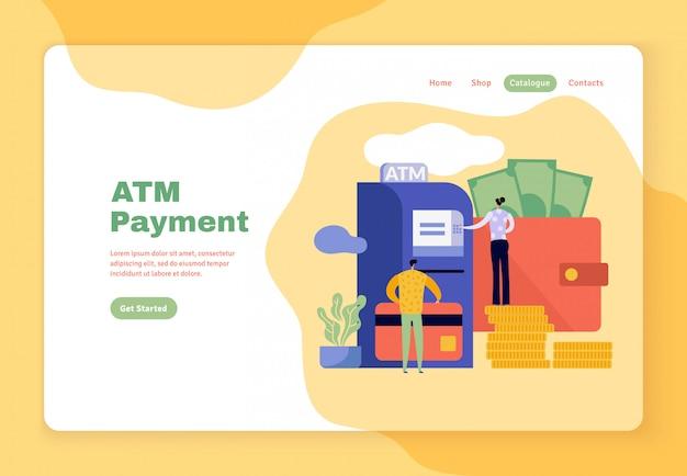 Płaski szablon strony internetowej rodziny wypłacającej pieniądze z bankomatu