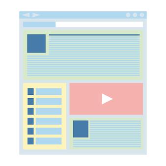 Płaski szablon strony internetowej, technologia projektowania stron internetowych. ilustracja wektorowa