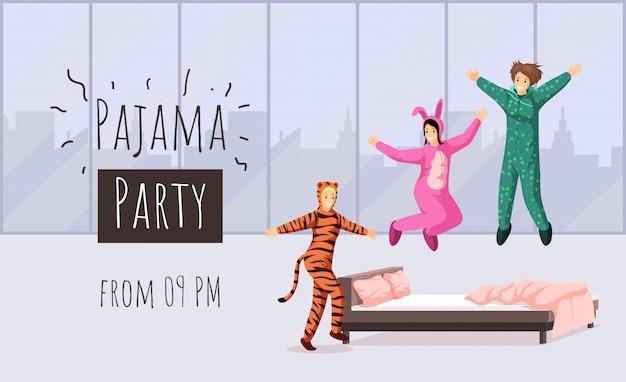 Płaski szablon strony piżamy. nocleg, zaproszenie na nocleg, projekt plakatu z reklamą panieńskich panienek. rozochocone dziewczyny w śmiesznych kostiumach ilustracyjnych z typografią