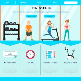Płaski szablon strony sieci web klubu fitness