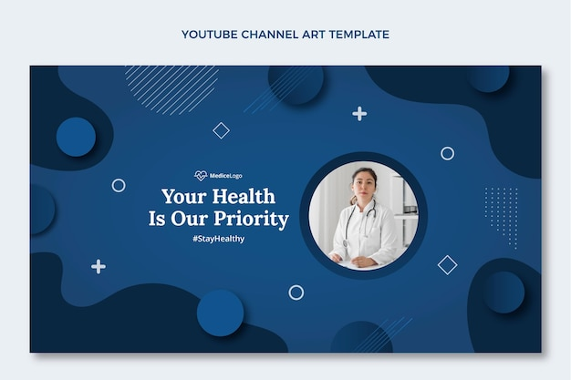 Płaski szablon sztuki kanału medycznego na youtube