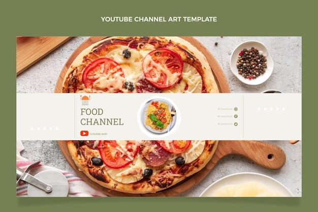 Płaski szablon sztuki kanału youtube z jedzeniem