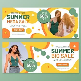 Płaski szablon transparent sprzedaż lato ze zdjęciem