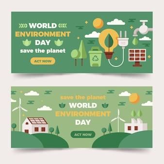 Płaski szablon transparent światowego dnia środowiska