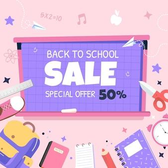 Płaski szablon transparentu sprzedaży kwadratowej z powrotem do szkoły