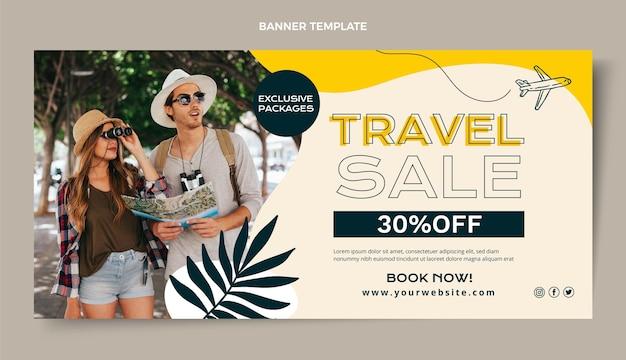 Płaski szablon transparentu sprzedaży podróży