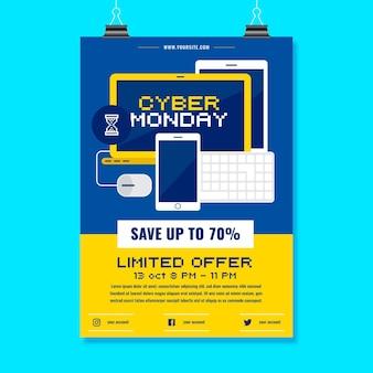 Płaski szablon ulotki cyber poniedziałek z ilustracjami