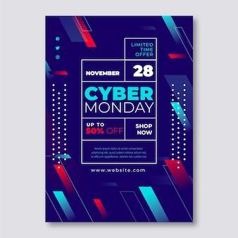Płaski szablon ulotki cyber poniedziałek z kształtami